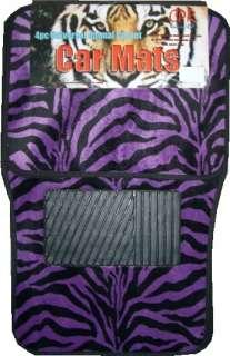 New Purple Black Zebra Front & Rear Floor Mats Set