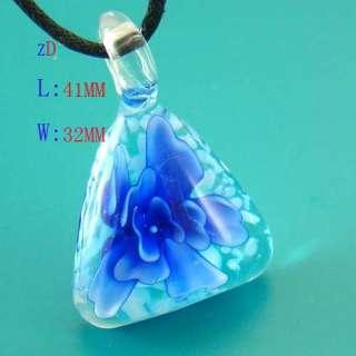 Murano Lampwork Glass Triangle Flower Pendant Necklace Fashion