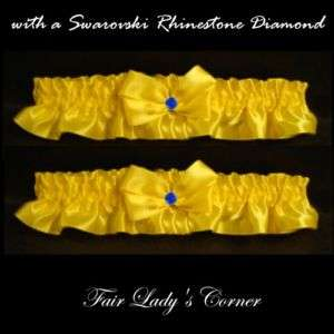 Yellow 2 Wedding Bridal garters belt prom diamond blue