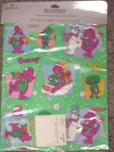 HALLMARK 1993 BARNEY & BABY BOP Christmas Gift Wrap Set NEW *~