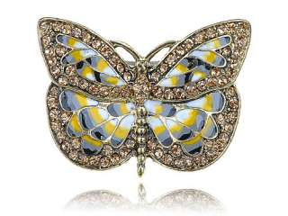 Inspired Gold Tone Butterfly Wings Insect Crystal Rhinestone Ring