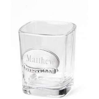 Shot Glass w Engraved Medallion Groomsmen Gift Wedding