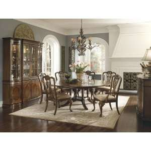 Round Pedestal Table Set with Queen Anne Chairs by Universal Furniture