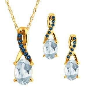 76 Ct Oval Sky Blue Topaz Gemstone 14k Yellow Gold Pendant Earrings