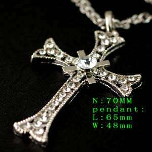 Chain Crystal Cross Design Sweater Necklace Pendant Jewelry