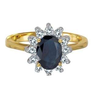 Lady Diana Blue Sapphire and Diamond Ring 14k Yellow Gold (2.10 ctw