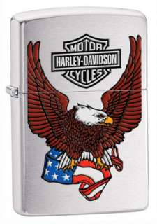 Zippo Harley Davidson Eagle with Flag   Brushed Chrome #24955