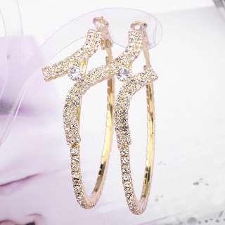 GP Sparkling Swarovski Crystal Earrings,Clip One Stone Hoop