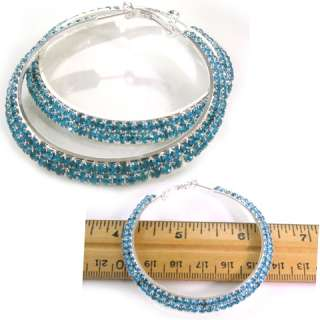 Row Aquamarine Crystal Circle Round Hoop Earring e292