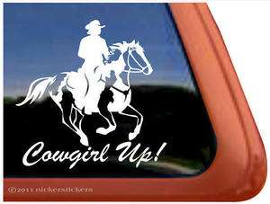 COWGIRL UP ~ American Paint Horse Trailer Window Decal Sticker