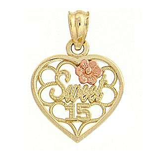 15 Charm.14K Yellow and Pink Gold  Oro Para Ti Jewelry Gold Jewelry