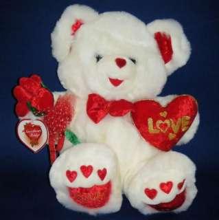 WHITE Teddy Bear LOVE 2001 Anniversary Red Velvet HEART FLOWERS Plush