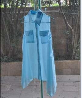 Fashion Lady Irregular Hem Sleeveless See through Chiffon Blouse Top