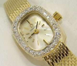 Vintage Omega Wrist Watch Ladies 14kt Gold
