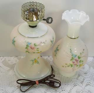Vintage Pink White/Milk Glass Electric Hurricane Lamp Chimney Shade