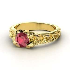 Rose and Thorn Ring, Round Ruby 14K Yellow Gold Ring