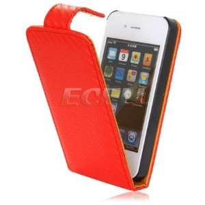 NEW RED & TAN WEAVE LEATHER FLIP CASE FOR iPHONE 4 4G Electronics