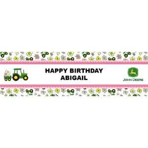 John Deere Pink Personalized Birthday Banner Large 30 x