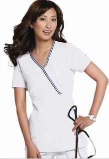 NWT Koi Medical Uniforms Ali 162 Mock Wrap WHITE Scrub Top XS 3XL