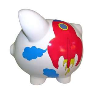 Personalized piggy banks for boys on popscreen - Rocket ship piggy bank ...