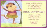Personalized Girls Hula Monkey Birthday Invitations