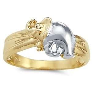 Elephant Ring 14k Yellow White Gold Band Two Tone, Size 6