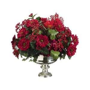 Artificial Red Zinnia, Protea & Berries Silk Flower Arrangement
