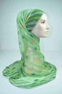 Brand New Chiffon Sq Scarf Shawl Wrap Hijab Dot Green