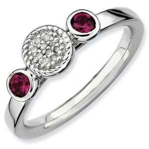 Silver Stackable Expressions Rhodolite Garnet & Diamond Ring Jewelry
