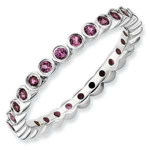 Silver Stackable Expressions Rhodolite Garnet Eternity Ring Jewelry