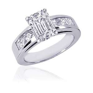 2 Ct Emerald Cut Diamond Engagement Rings Channel Set 14K