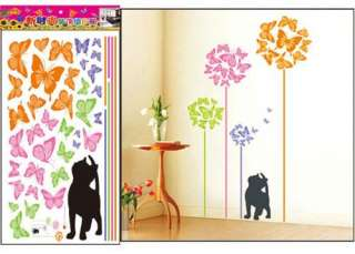 Colorful Butterfly Tree Cat Art Mural Wall Vinyl Sticker Wall Decal
