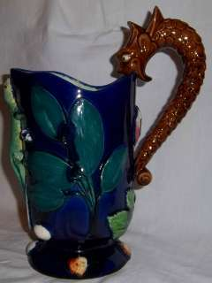 Mint Antique French Thomas Sergent Palissy Majolica Pitcher