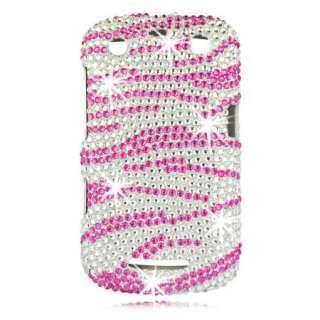 DIAMOND Pink ZEBRA Rhinestone GEM Case for BlackBerry CURVE 9350 9360