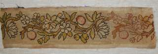 Peaches and Flowers on a Branch Antique French Needlepoint