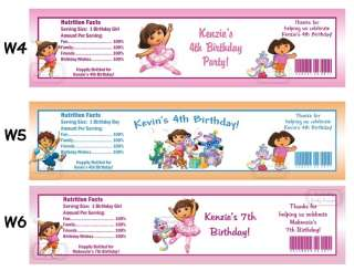 Dora The Explorer Go Diego ~ Printed Water Bottle Labels ~ Birthday