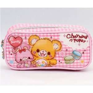 cute pink checkered plush animals pencil case kawaii  Toys & Games