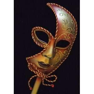 Mask Half Face Mardi Gras Burgundy Halloween Masquerade Stick Prom