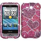 HEARTS PINK PURPLE DIAMOND BLING CRYSTAL FACEPLATE CASE COVER FOR HTC