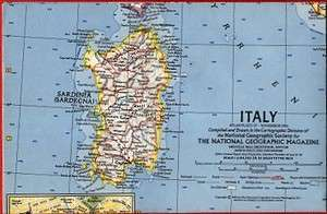 1961 National Geographic Railroad Map ITALY Rome Sicily