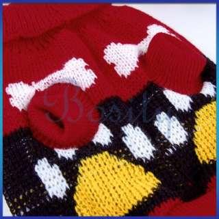 Knit Turtleneck Sweater Clothes Dog Pet Bone Paw pic  S