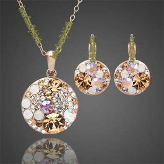 18K rose gold Gp Swarovski Crystal mickey jewelry set 875