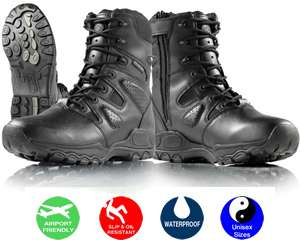 SMITH AND WESSON WATERPROOF BLACK SIDE ZIPPER BOOTS HOT WEATHER