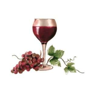 Bovano Enamel Wall Ar Home Decor Red Wine Glass Grapes