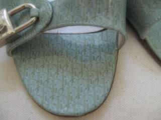 CHRISTIAN DIOR Light Blue Lock & Key Slide Shoes Sz 38