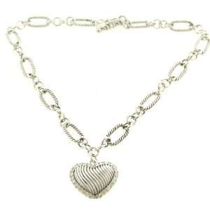 com Silvertone Thick Heart Pendant Necklace Fashion Jewelry Jewelry