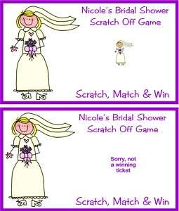 Bridal Shower Wedding Scratch Off Tickets Favors Custom