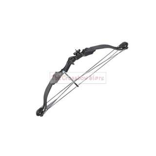 25 lbs 28 Black Compound Archery Bow Set With Arrows + Quiver