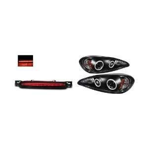 99 05 Pontiac Grand AM Black CCFL Halo Projector Headlights + LED 3rd