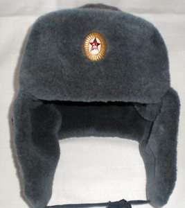 Ushanka Russian Soviet Red Army Fur Hat USSR Badge 58